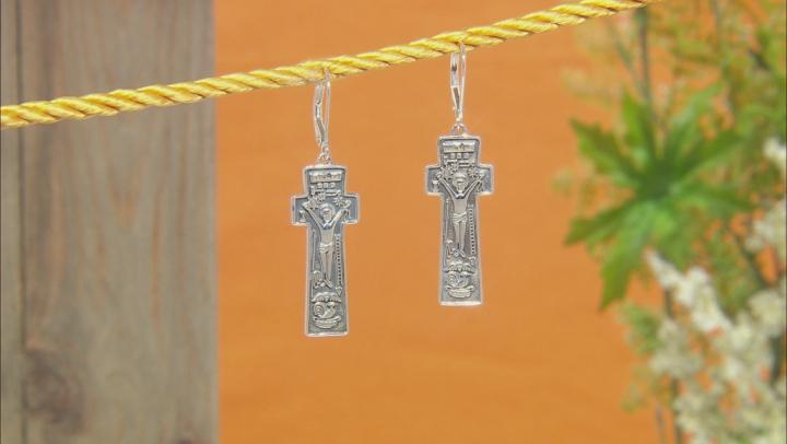 Sterling Silver Penal Cross Earrings