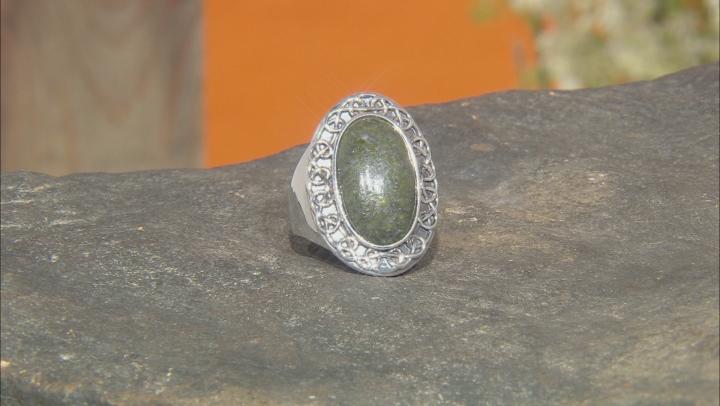 Connemara Marble Silver Celtic Ring