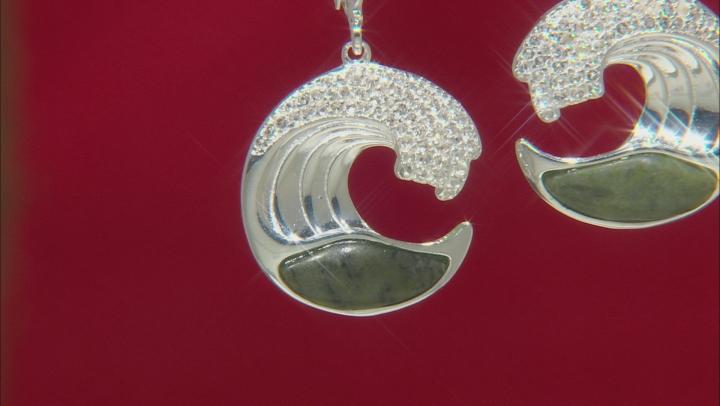 Connemara Marble And Topaz Atlantic Wave Sterling Silver Earrings 0.812ctw