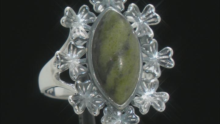Connemara Marble and Shamrock Vine Sterling Silver Ring
