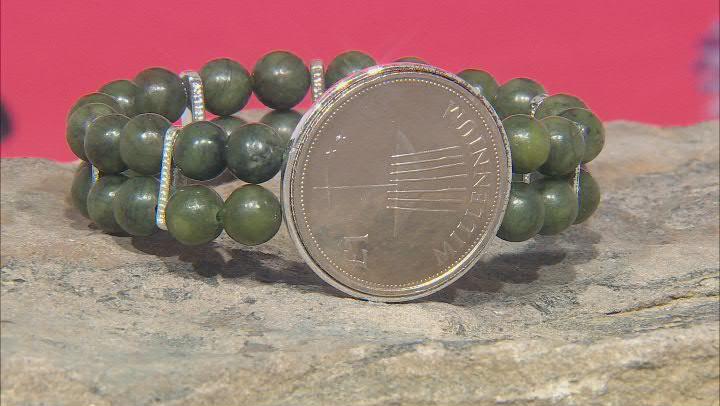 Connemara Marble Silver Over Brass Millennium 1 Pound Coin Bracelet