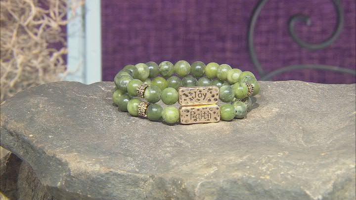Connemara Marble Gold-Tone Over Brass Set of 2 Joy & Faith Bracelets