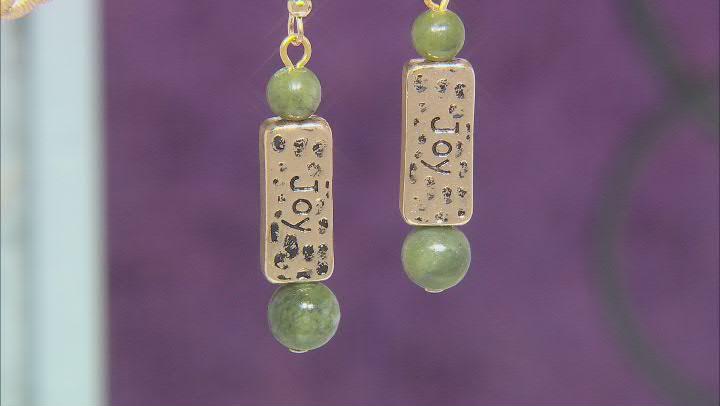 Connemara Marble Gold-Tone Over Brass Joy & Faith Earrings. Color Varies.