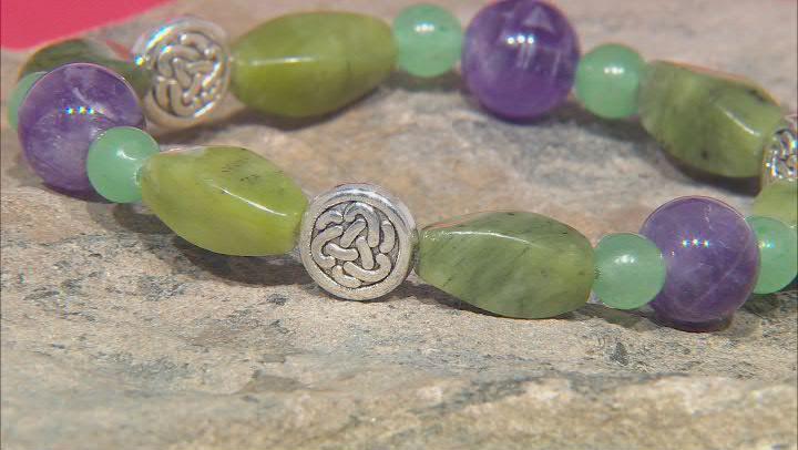 Connemara Marble, Amethyst,& Quartzite Silver-Tone Over Brass Bracelet