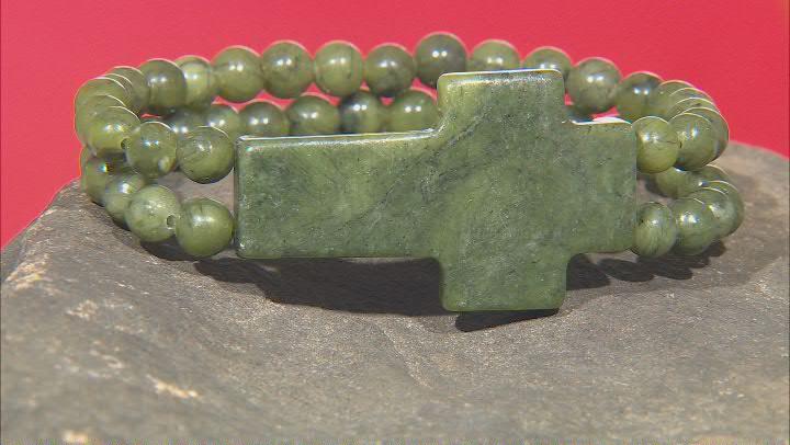 Connemara Marble 2 Strand Cross Stretch Bracelet