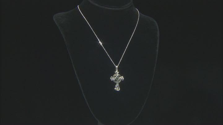 "Connemara Marble Silver Celtic Cross Pendant W/ 24"" chain"
