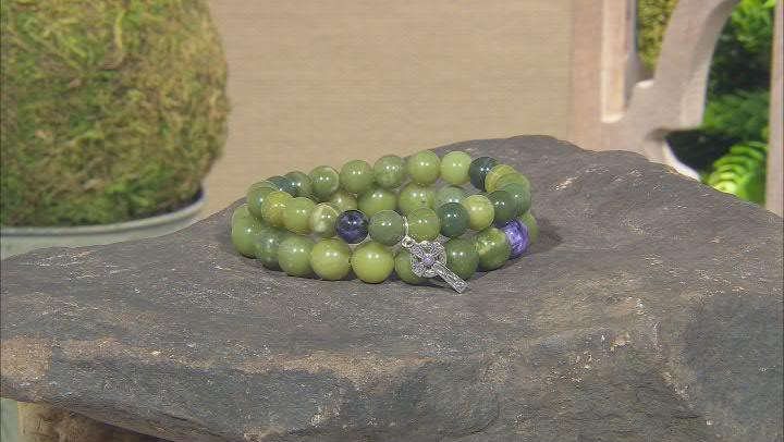 Charoite & Connemara Marble Silver Celtic Cross Charm  Bracelets