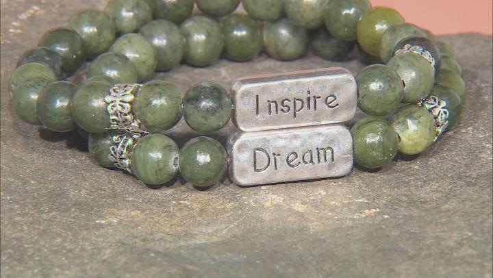 Connemara Marble Silver Over Brass Set of 2 Inspire & Dream Bracelets