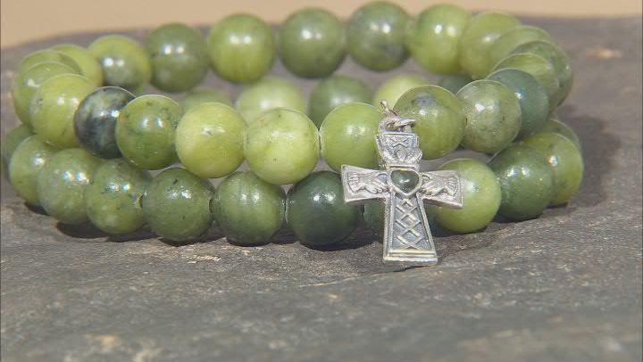 Connemara Marble Sterling Silver Cross Charm Set of 2 Bracelets