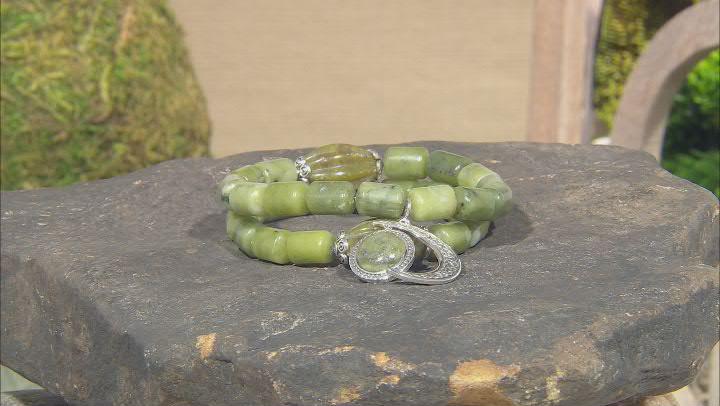 Connemara Marble  Silver Sun & Moon Charm Set of 2 Bracelets