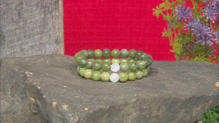 Connemara Marble & Rainbow Moonstone Silver Set of 3 Bracelet