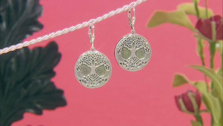 Green Connemara Marble Tree Of Life Sterling Silver Earrings