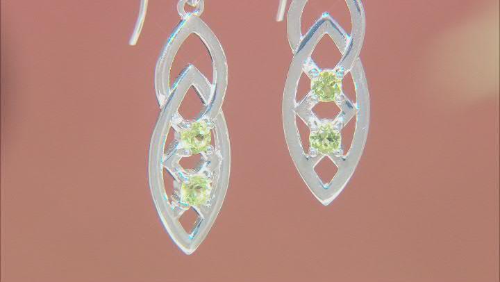 Green Peridot Forever Knot Sterling Silver Earrings 0.13ctw