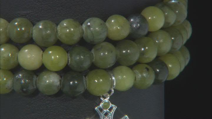 Green Connemara Marble Stretch Cross Sterling Silver Set of 3 Bracelets