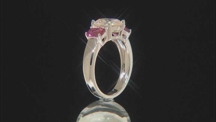Fabulite Strontium Titanate And Russian Lab Created Bixbite Silver Ring 3.34ctw