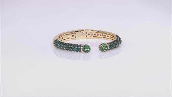 Gold Tone Green Crystal Cuff Bracelet