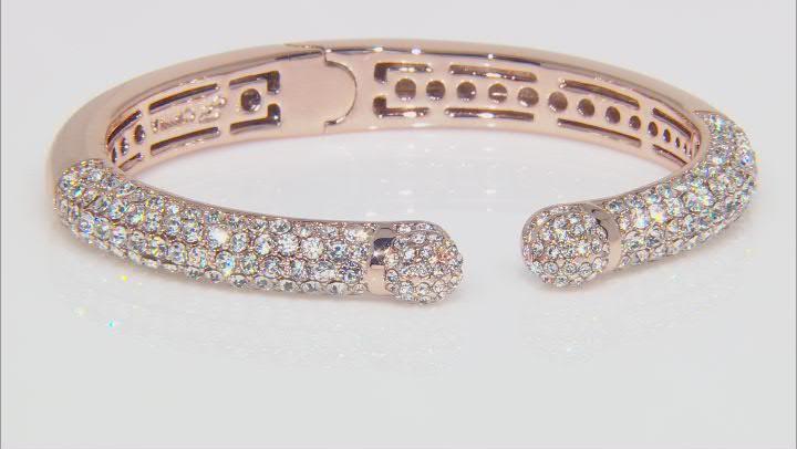 Rose Tone White Crystal Cuff Bracelet