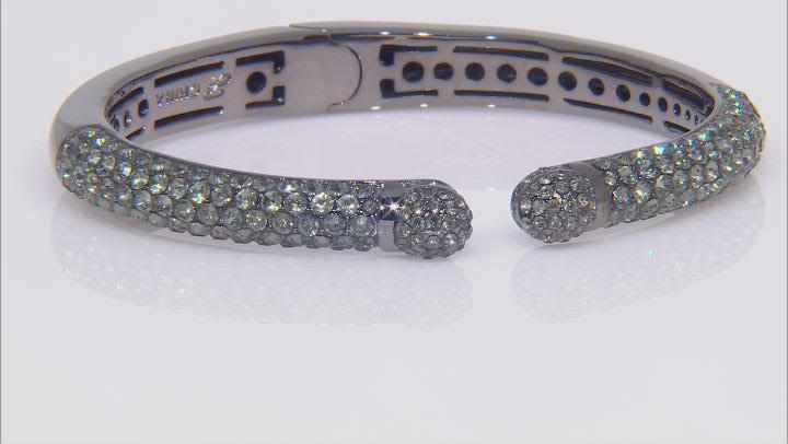 Gunmetal Tone Green Crystal Cuff Bracelet