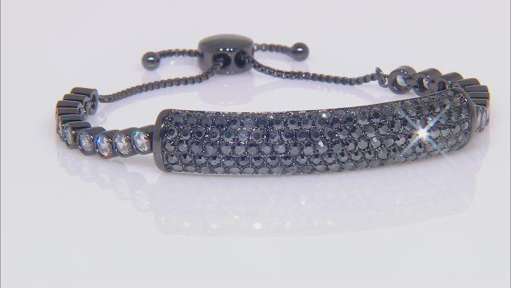 Gunmetal Tone with  Black and White Bolo Bracelet
