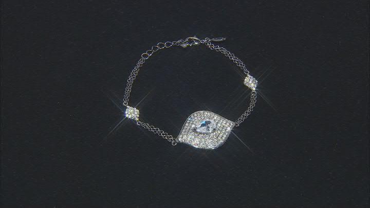 Gunmetal Tone with White Crystal Evil Eye Station Bracelet