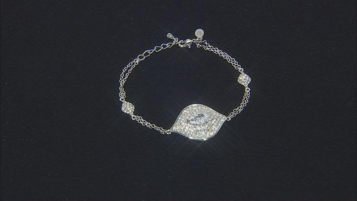 Silver Tone with White Crystal Evil Eye Station Bracelet