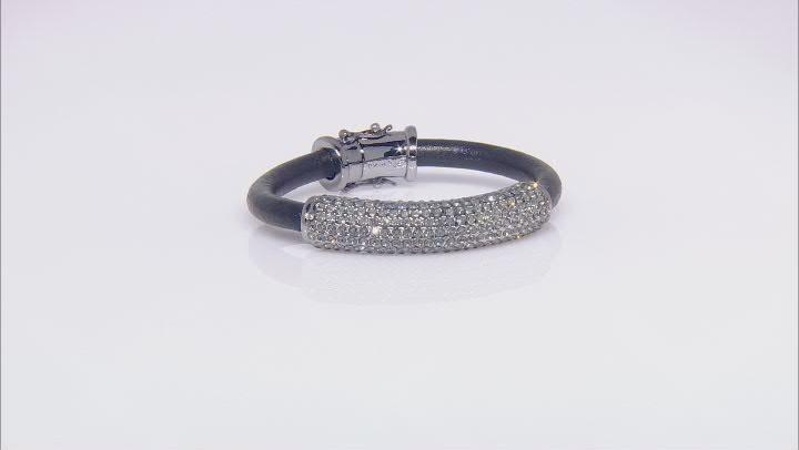 Gunmetal Tone Black Crystal Leather Bracelet