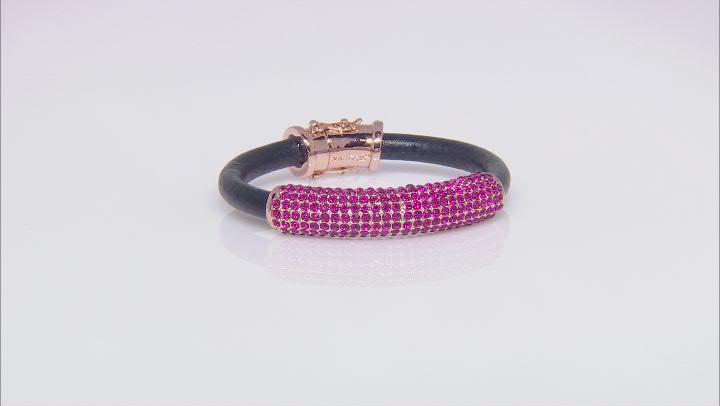 Rose Tone Pink Crystal Leather Bracelet