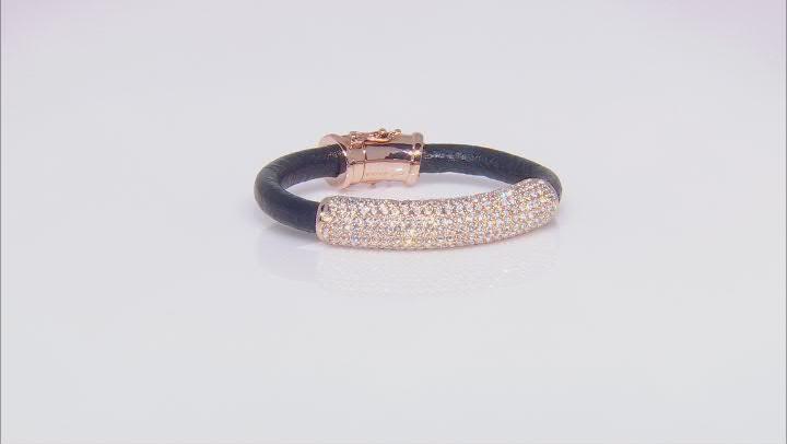 Rose Tone White Crystal Leather Bracelet