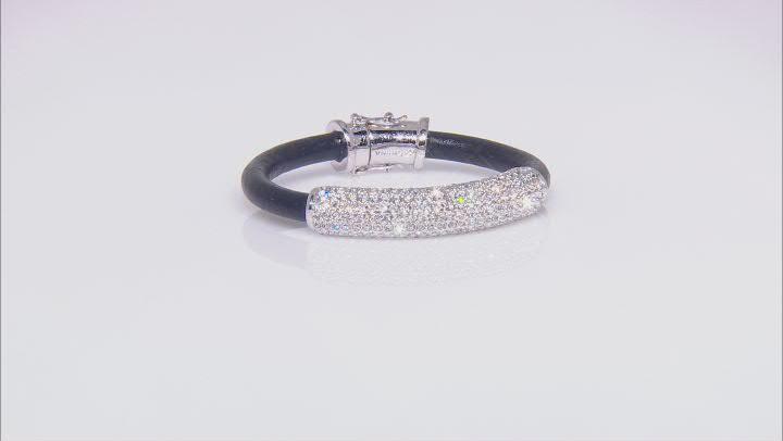 Silver Tone White Crystal Leather Bracelet