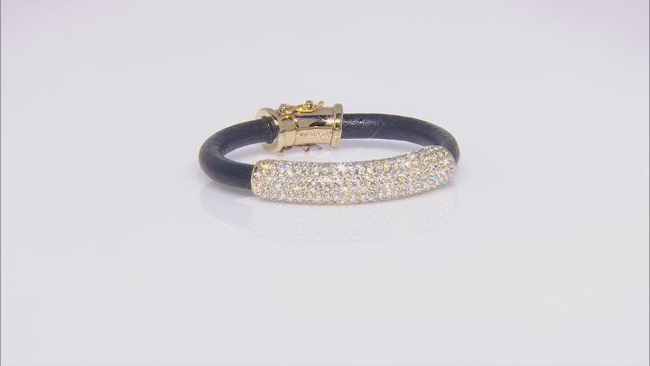 Gold Tone White Crystal Leather Bracelet