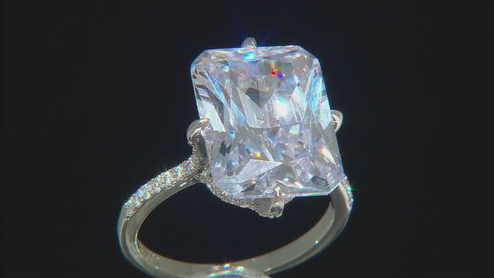 Silver Tone Radiant Cut, Rectangular Octagonal Cubic Zirconia Ring 19.90ctw