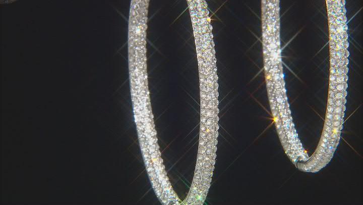 "Silver Tone Clear Crystal 2.50"" Hoop Earring"
