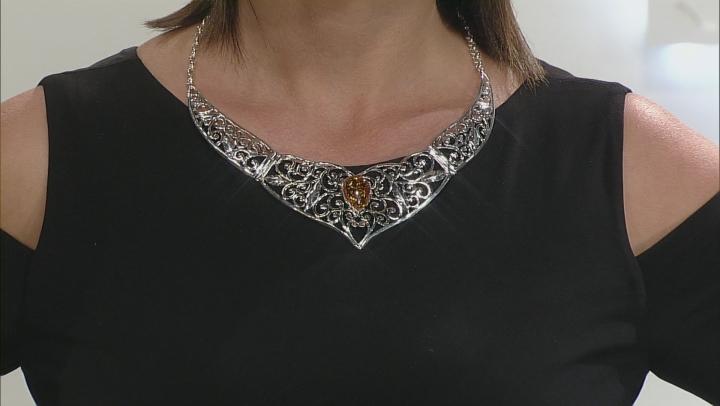 Orange Amber Sterling Silver Necklace