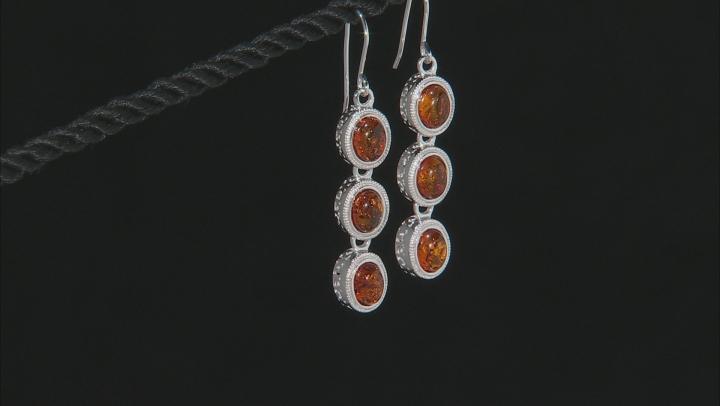 Orange Polish Amber Dangle Earrings
