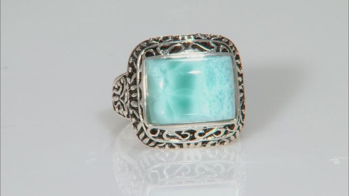 Blue Larimar Sterling Silver Ring.