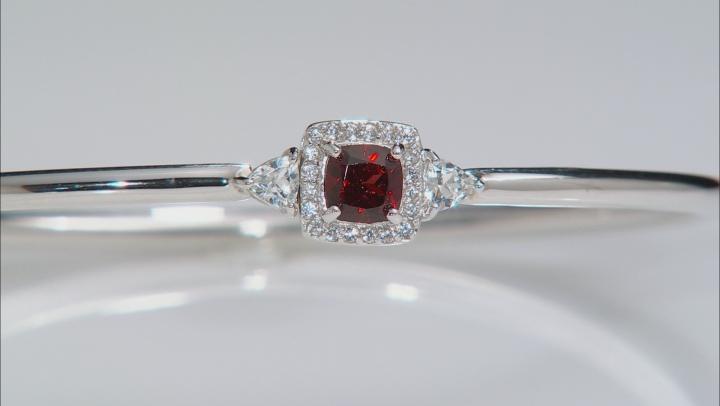 Red Garnet Sterling Silver Bangle Bracelet 1.58ctw