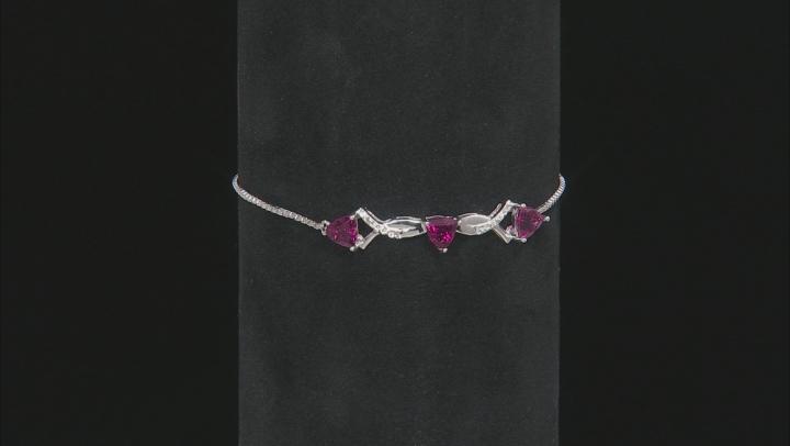Pink Rubellite Tourmaline Sterling Silver Sliding Adjustable Bracelet 1.03ctw