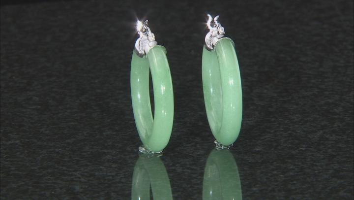 Green Jadeite Rhodium Over Rhodium Over Sterling Silver Hoop Earrings 30x4.5mm