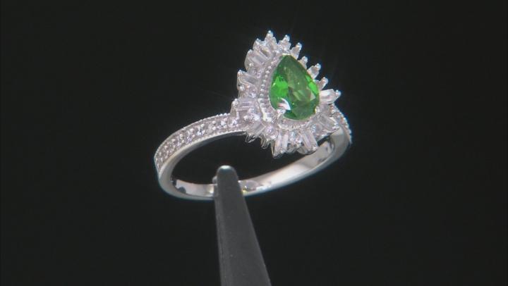 Green Tsavorite Rhodium Over 10k White Gold Ring 1.08ctw