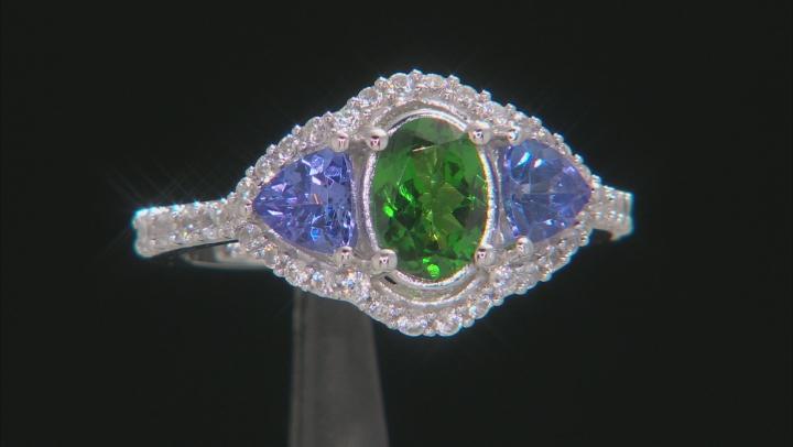 Green Tsavorite Rhodium Over 10k White Gold Ring 1.76ctw
