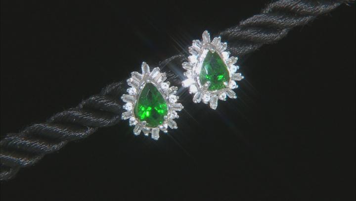 Green Tsavorite Rhodium Over 10k White Gold Earrings 1.23ctw