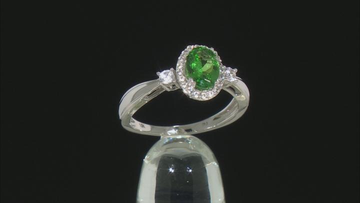 Green Tsavorite Rhodium Over 10k White Gold Ring 1.02ctw