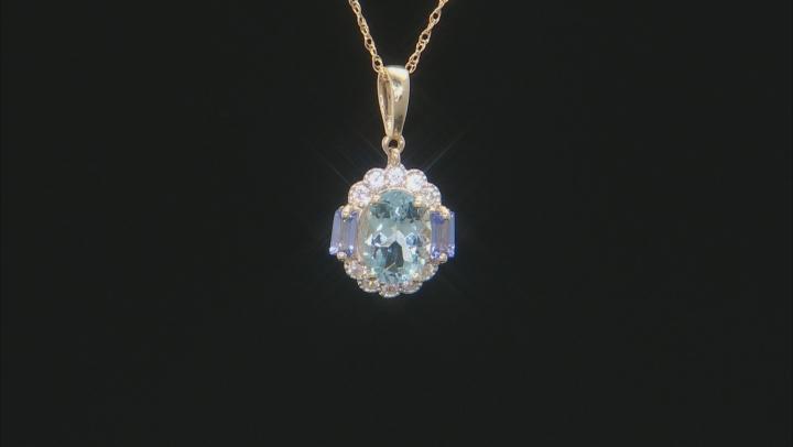 Blue Aquamarine 10k Yellow Gold Pendant With Chain 1.48ctw