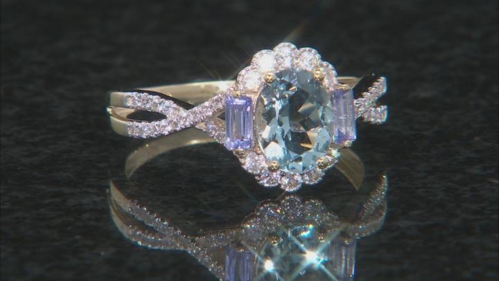 Blue Aquamarine 10k Yellow Gold Ring 1.58ctw