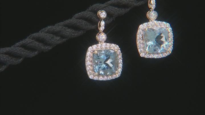 Blue Aquamarine 10k Yellow Gold Earrings 2.16ctw