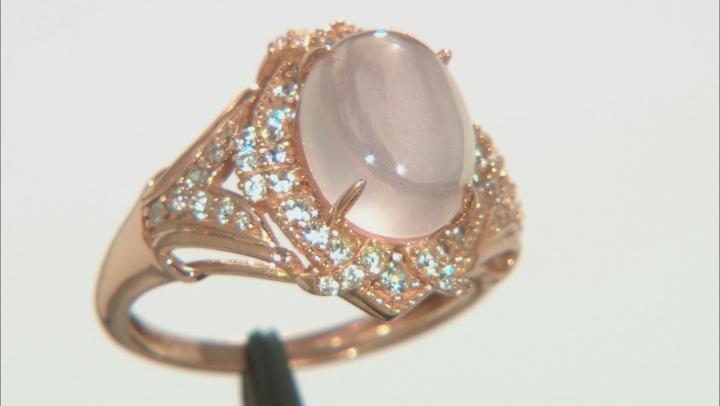 Pink Rose Quartz 10k Rose Gold Ring 0.54ctw