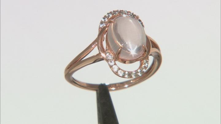 Pink Rose Quartz 10k Rose Gold Ring 0.18ctw