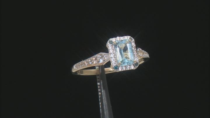 Blue Aquamarine 10k Yellow Gold Ring 1.03ctw