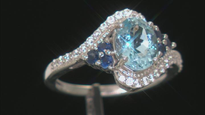 Blue Aquamarine Rhodium Over 10k White Gold Ring 2.16ctw
