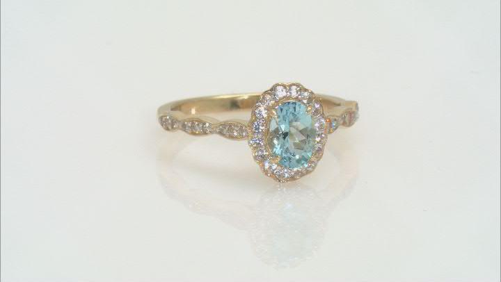 Blue Aquamarine 10k Yellow Gold Ring 0.91ctw